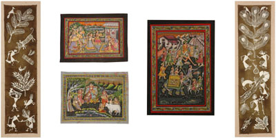 We have a large collection of Indian Paintings from Incredible India consisting magnificent Madhubani paintings, Pichwai Paintings, Oil Paintings, mysterious Warli paintings, Patachitras, Tribal Paintings, Thangka Paintings and also contemporary Indian ar