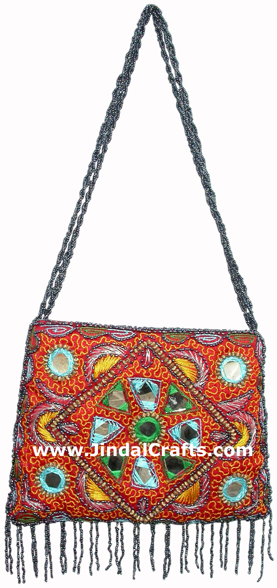 02 >> Hand Embroidered Beaded Traditional Shoulder Purse from India