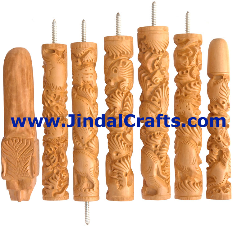 Hand Carved Kadam Wood Walking Stick India Animal Engraving Traditional Art