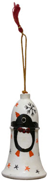 Hand Made, Painted Papier Mache Christmas Ornament Bell