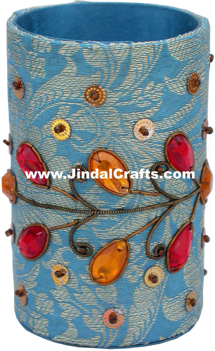 Colourful Hand Embroidered Designer Beaded Pen Holder India Unique Gift Souvenir