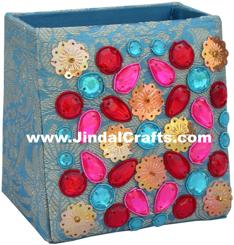 Colourful Hand Embroidered Designer Beads Pen Holder India Unique Gift Souvenirs
