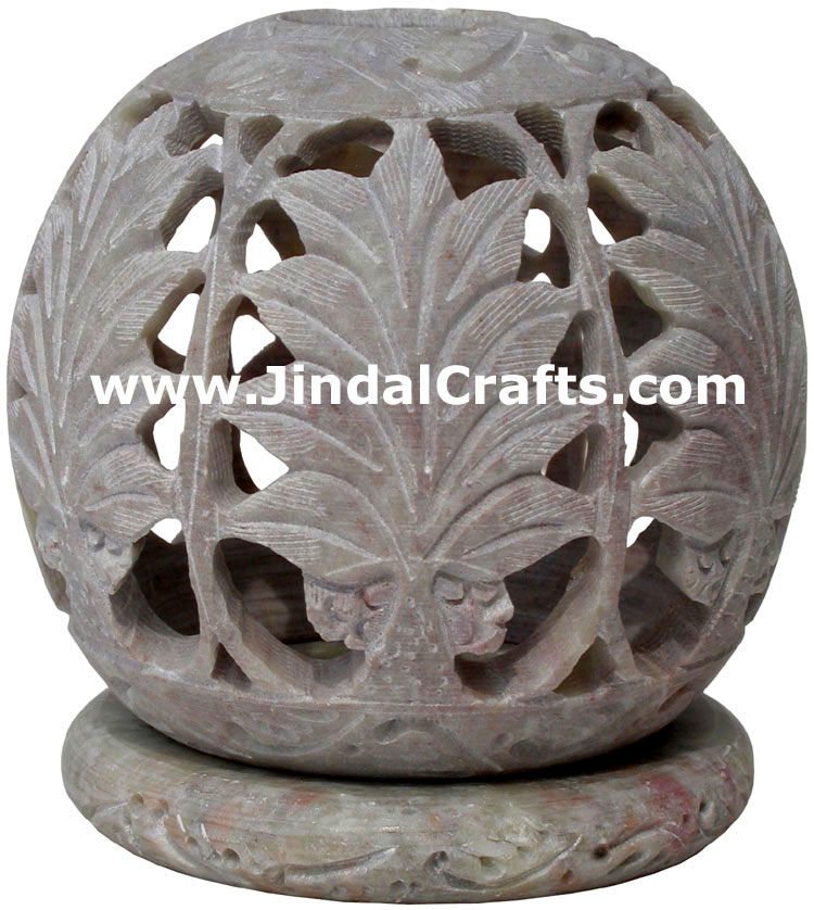 Soapstone Candle Holder Indian Hand Carving Jaali Art