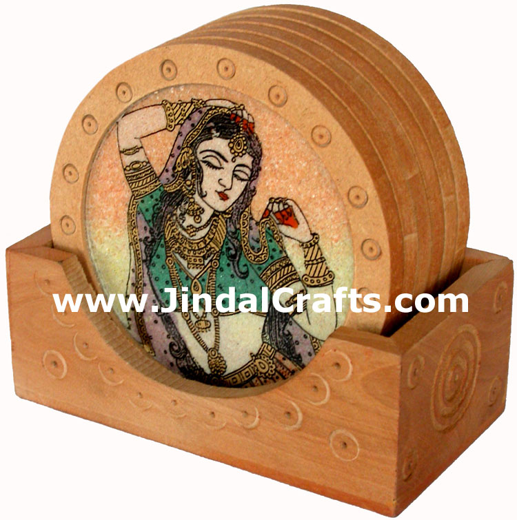 Handmade Gemstone Dust Coasters Set in Wood Frame India