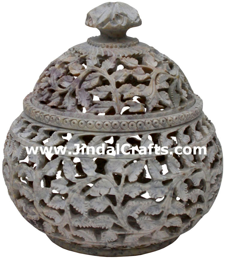 Hand Carved Marble Decorative Box Indian Art