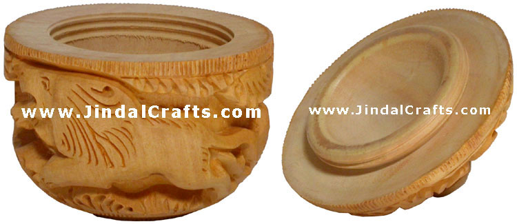 Hand Carved Wooden Small Box having Jungle Carving Art