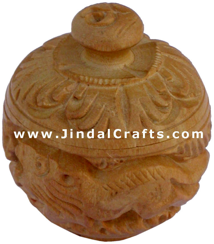 Hand Carved Wooden Multi Purpose Box India Fair Trade