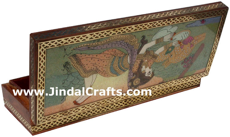 Hand Carved wood and Gemstone Dust Painting Box India