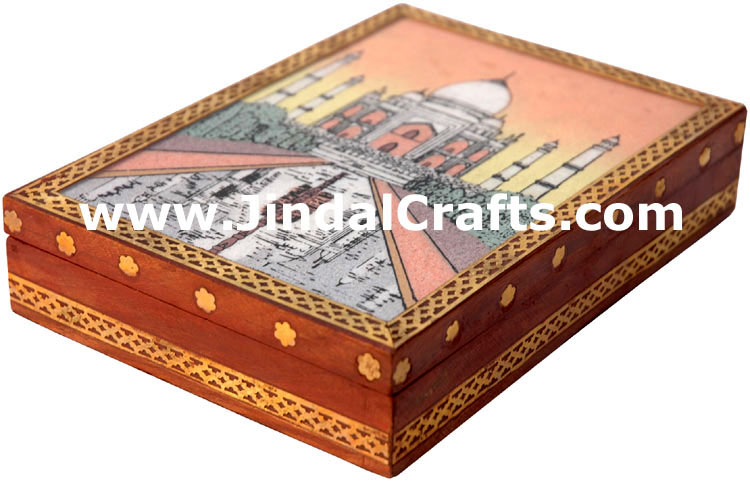 Hand Carved Wooden and Gemstone Box India Art