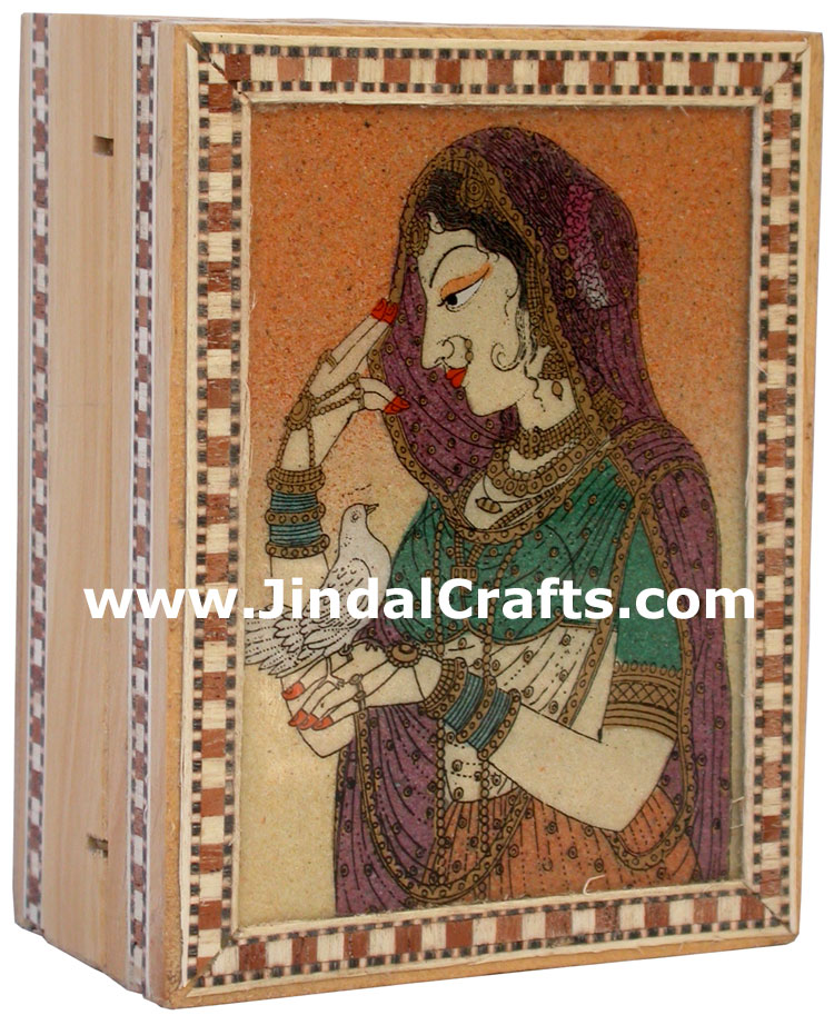 Gemstone Dust Painting Wedding Invitation Box India Art