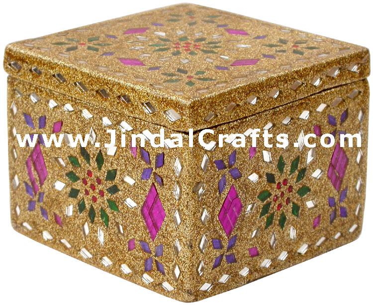 Handmade Lac Decorative Jewelry Box Indian Rich Crafts