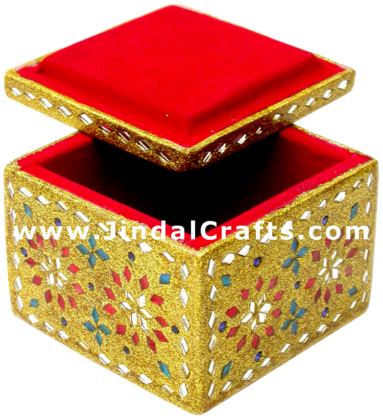 Handmade Lac Decorative Jewelry Box Indian Rich Crafts