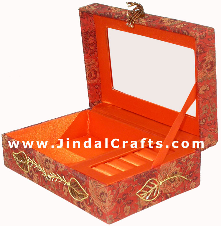 Hand Embroidered Beaded Jari Zari Jewelry Box from India