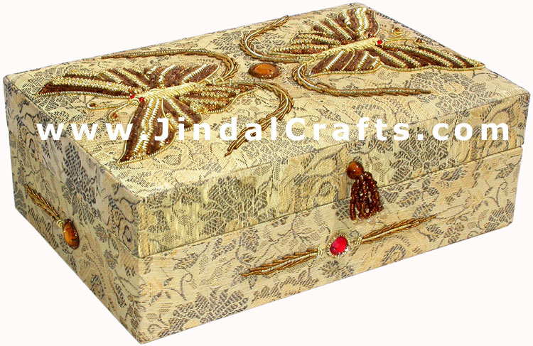 Hand Embroider Beaded Jari Zari Decorative Jewelry Box