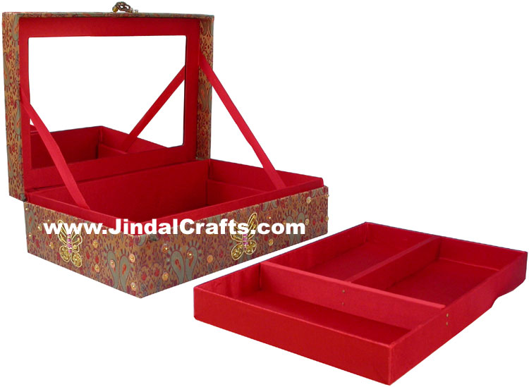 Colourful Hand Embroidered Designer Zari Jewellery Box Indian Handicrafts