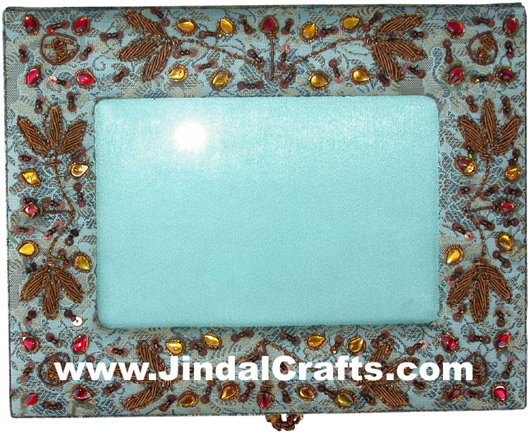 Colourful Hand Embroidered Designer Jewellery Box Photo Frame Indian Handicrafts