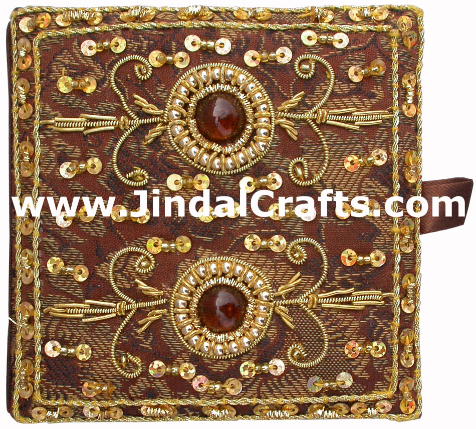 Hand Embroidered Zari Beaded Multi Purpose Gift Box Indian Rich Handicraft Craft