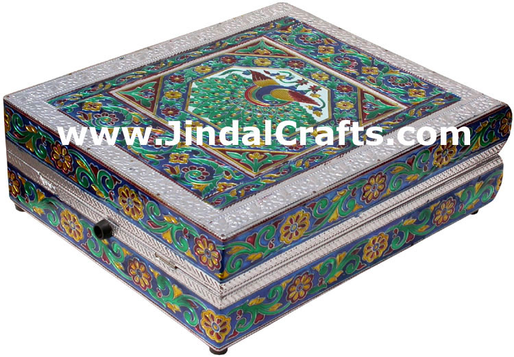 Jewelry Box - Handmade Wood Aluminium Encarved Decor