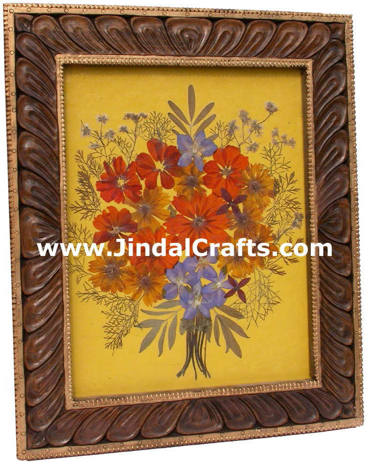 Hand Made Dried Flowers Decorative Frame India Art