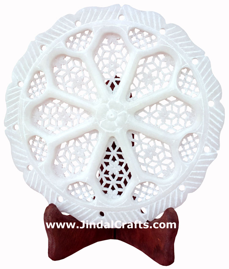 Hand Carved Jaali Designer Decorative Plate Home Decor Rich Indian Handicrafts