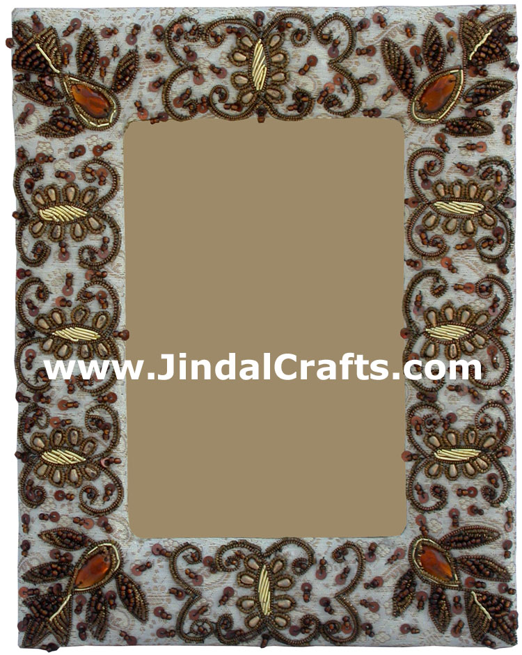 Photo Frame Beaded Hand Embroidered Jari Zari Craft Art