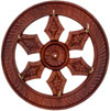 Handcarved Wooden Brass Inlay Key Holder Home Decor Traditional Handicraft Wheel