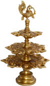 Lamp Diya Brass Made Peacock Headed India Religious Art