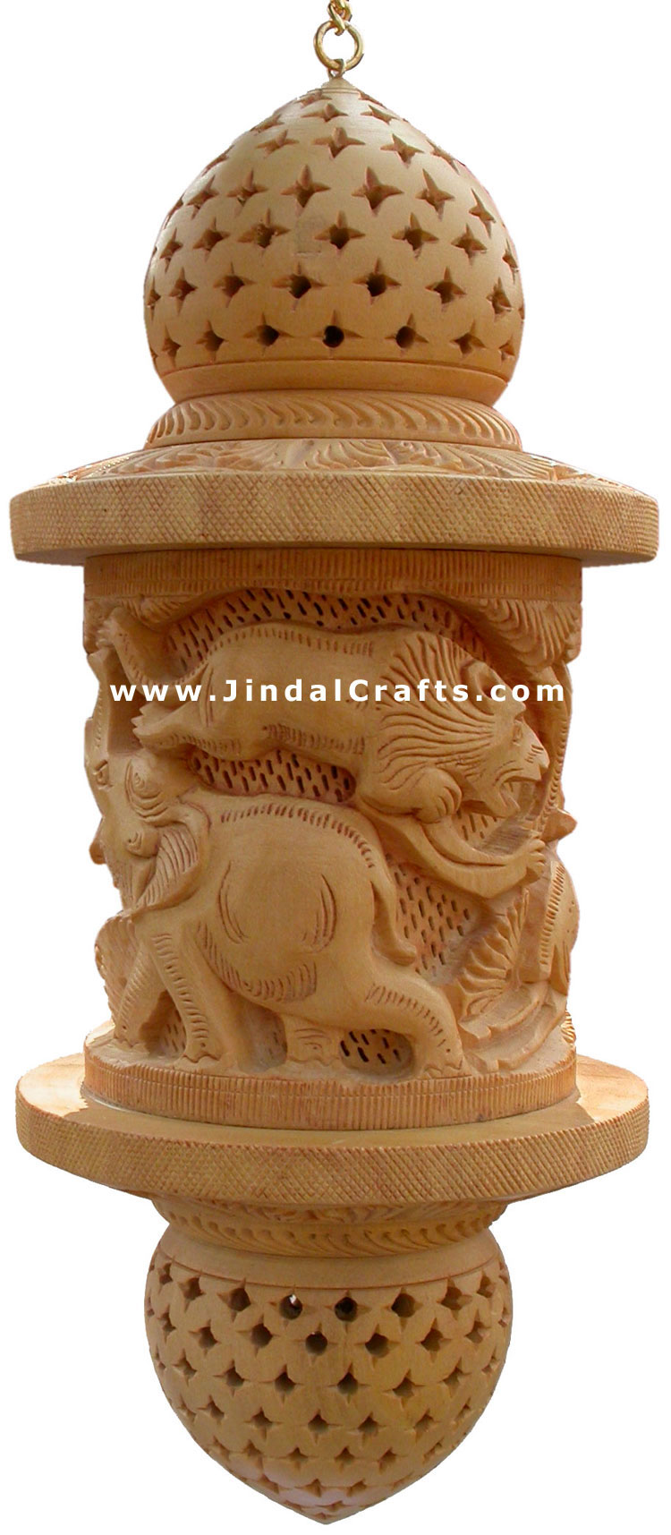 Lampshade hand carved wooden jungle masterpiece art