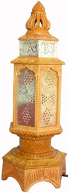 Wood Stone Lamp Shade - Hand Carved Jaali Design Rich Art Handicrafts from India