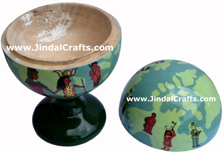 Wooden Home Decor Artifact Handicraft Art From India Hand Painted Earth People