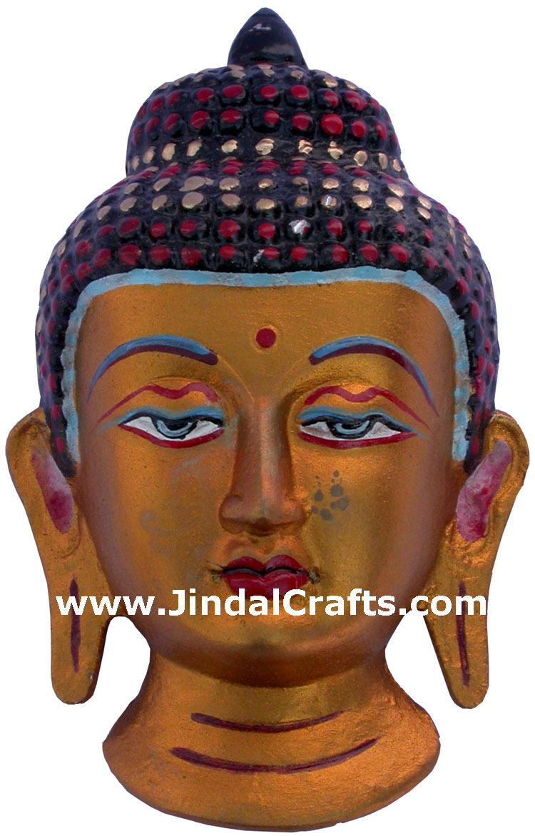 Metal Sculpture Colored Buddha Wall Hanging India Handicrafts Hand Painted Budh