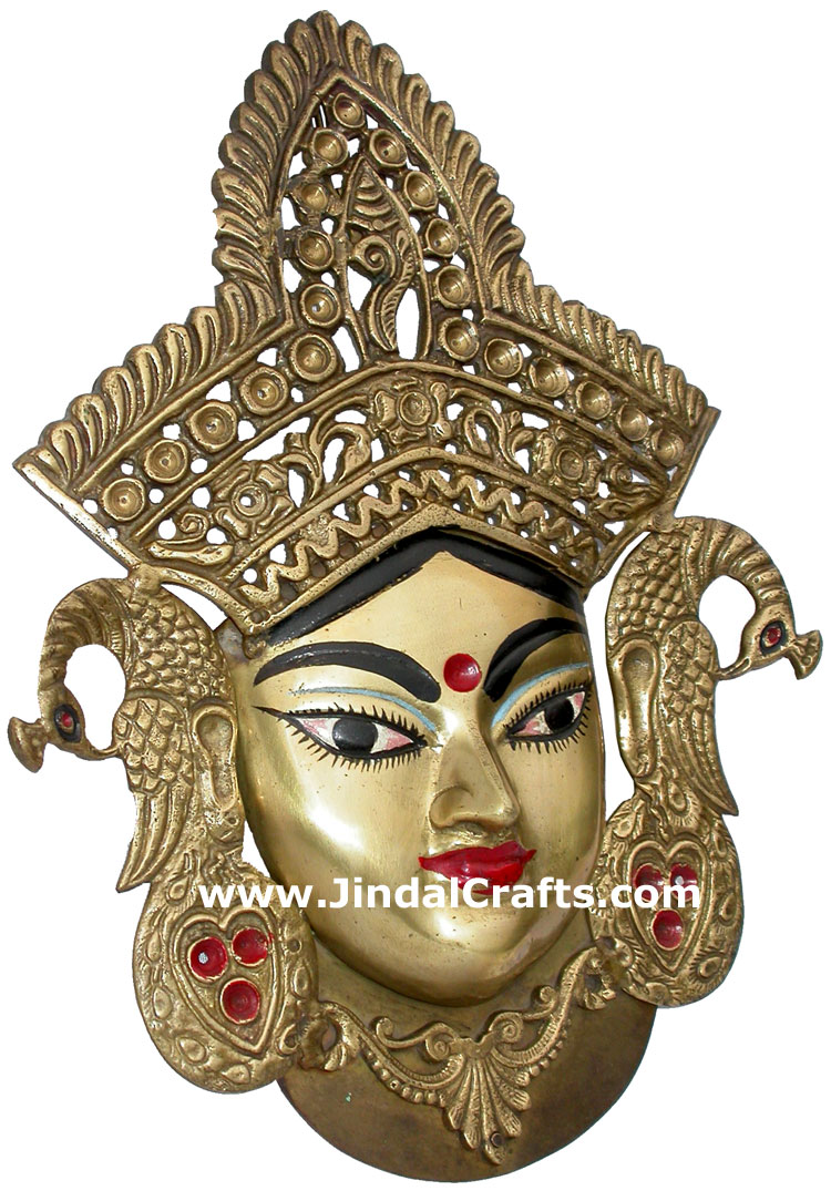 Maa Durga Face Wall Hanging Home Decor Brass Crafts Hindu Religious Handicrafts