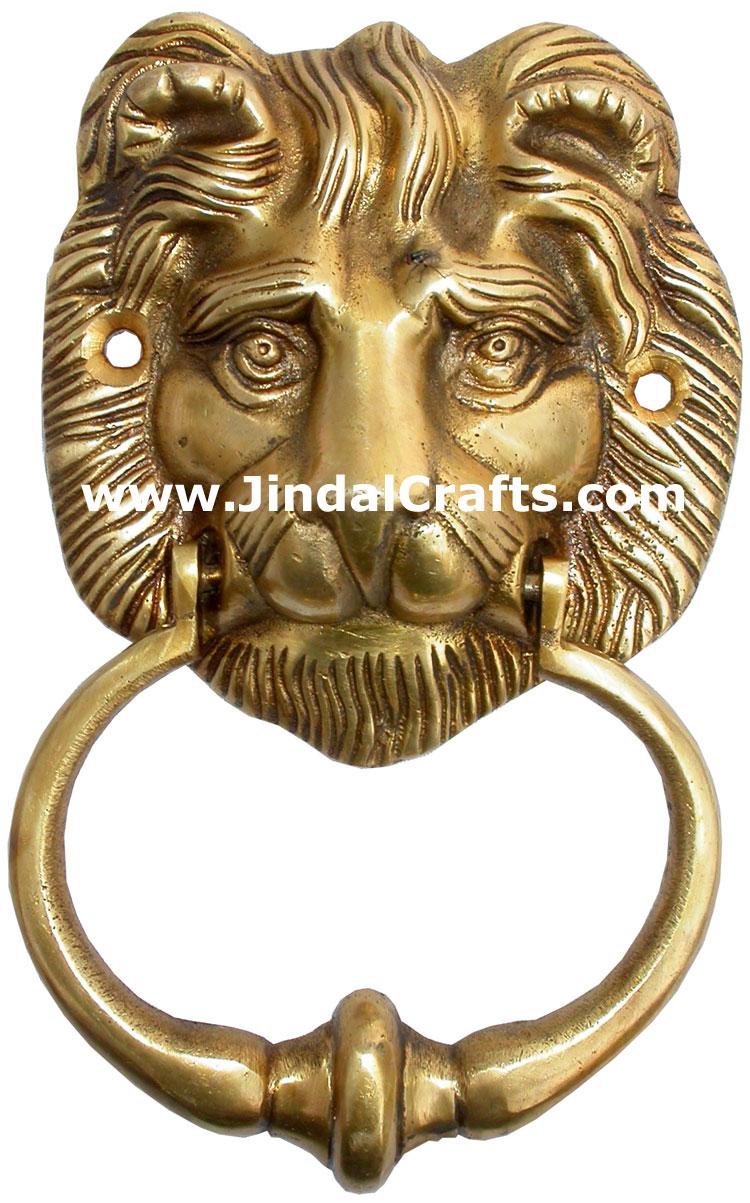 knocker traditional brass craft indian lion face art handicrafts