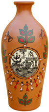 Vase Handmade Hand Painted Artifact from India Heritage