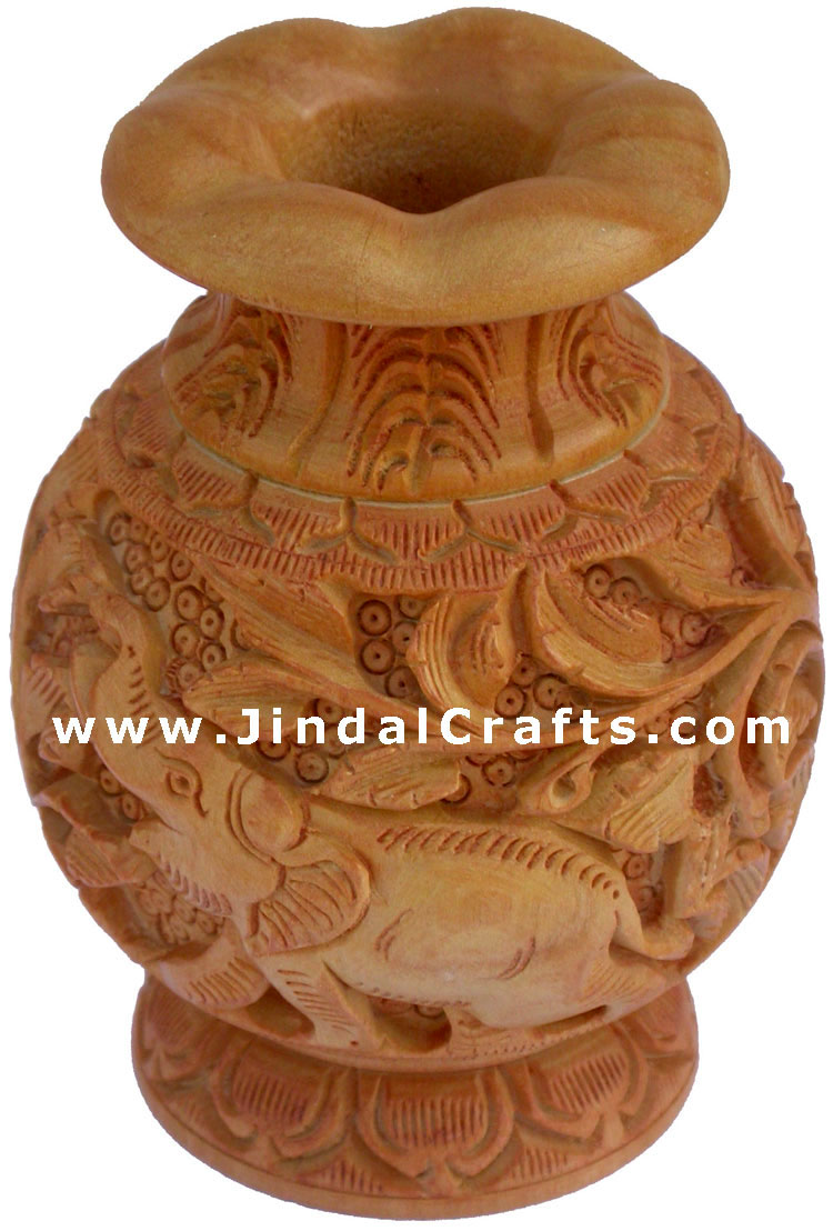 Hand Carved Wooden Decorative Vase India Fair Trade Art Leaf Carving Handmade
