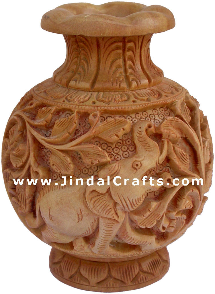 Hand Carved Wooden Decorative Vase India Fair Trade Art ...