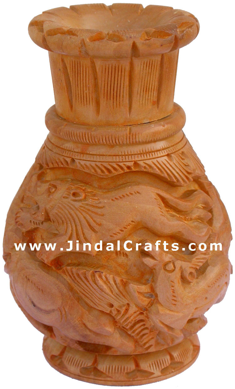 Hand Carved Wooden Decorative Vase India Fair Trade Art