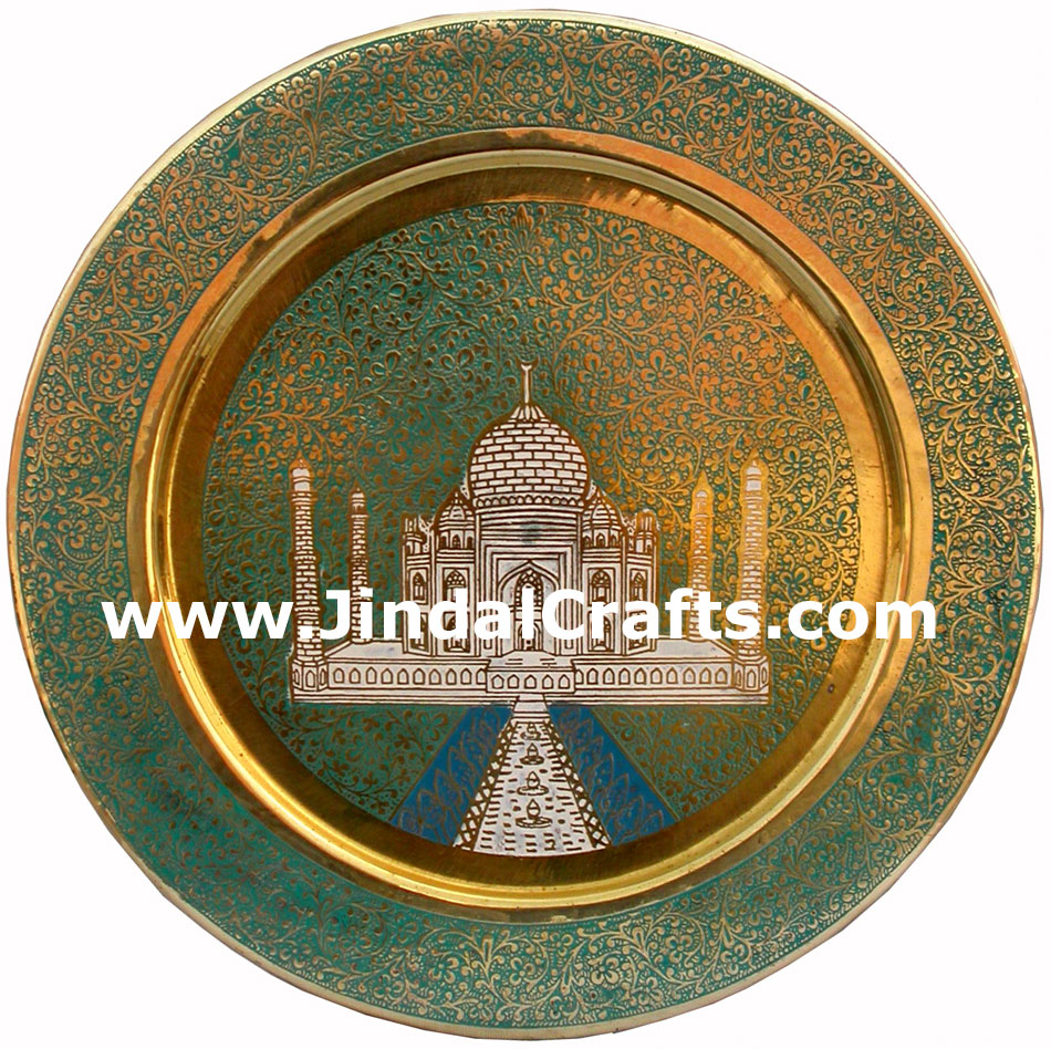 Brass Taj Mahal Hanging Plate - Indian Meenakaari Artifact Art Craft Handicraft