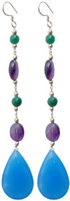Handmade 925 Sterling Silver / Semi Precious Stones Earrings Jewelry India Art
