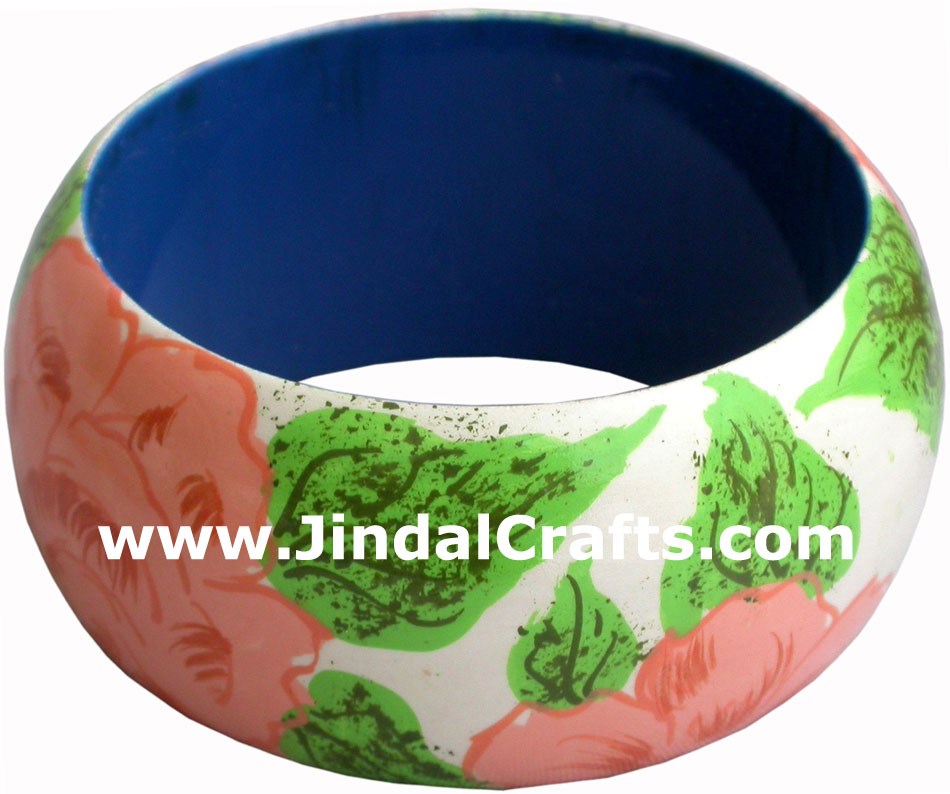 Wooden Bangle - Hand Painted Indian Handicraft Art Crafts Fashion Jewelry
