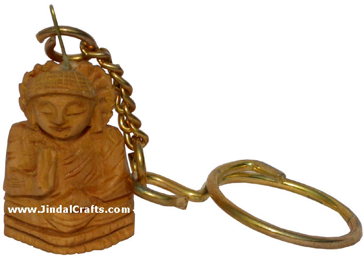Handmade Wooden Buddha Key Chain Ring India Hand Carving Art Buddhist Handicraft