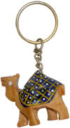 Handcrafted Handpainted Wooden Camel Key Chain India