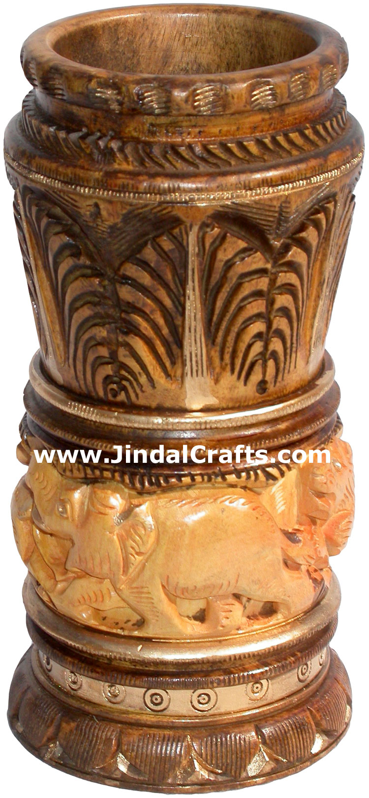Hand Carved Antique Look Wooden Pen Pencil Holder Stand Jungle Art Elephant Lion