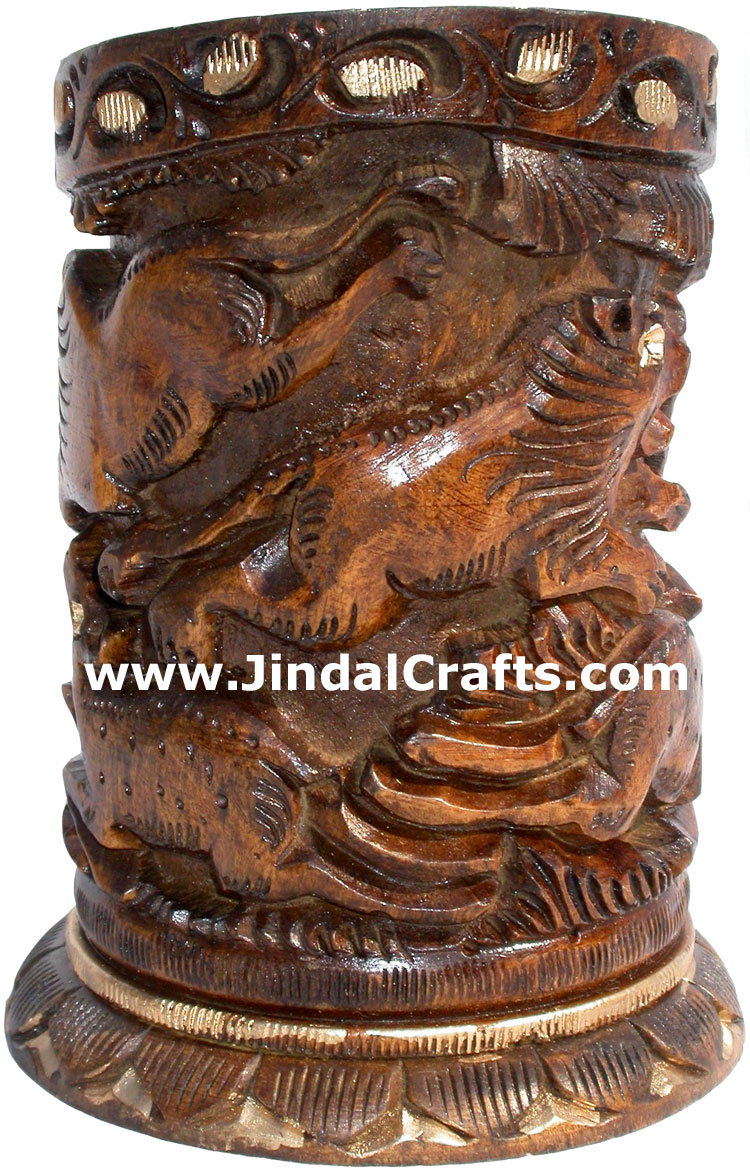 Hand Carved Wood Pen Pencil Holder Stand Unique Art