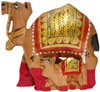 Hand Carved and Painted Wood Camel Family India Art