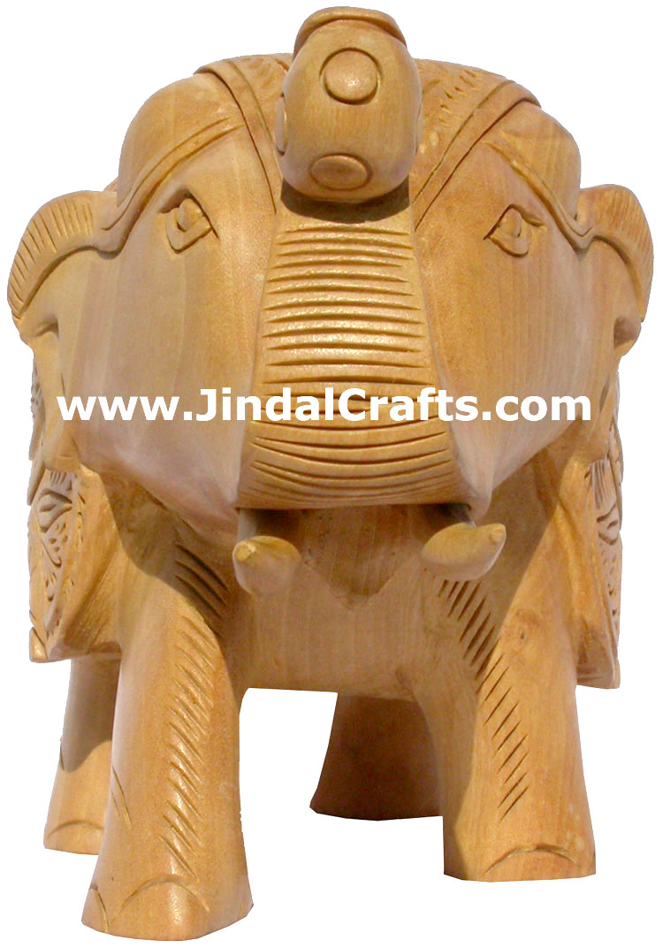 Hand Carved Wood Elephant Sculpture India Detailed Carving Work Handicrafts Gift