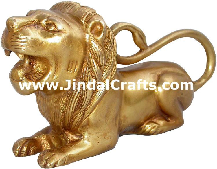 Lion Figures Brass Figurines India Metal Handicrafts