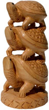 Wooden Turtle Tower - Handcarved Animal Figures Indian
