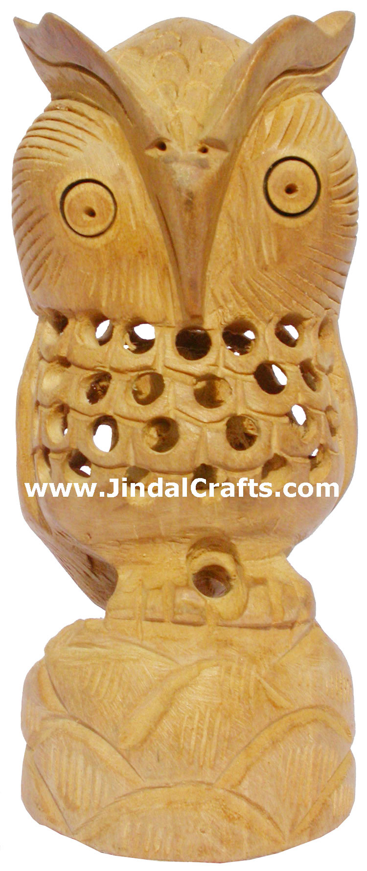 Hand Carved Hollow Owl Figurine Sculpture India Arts Work Handicrafts Fair Trade