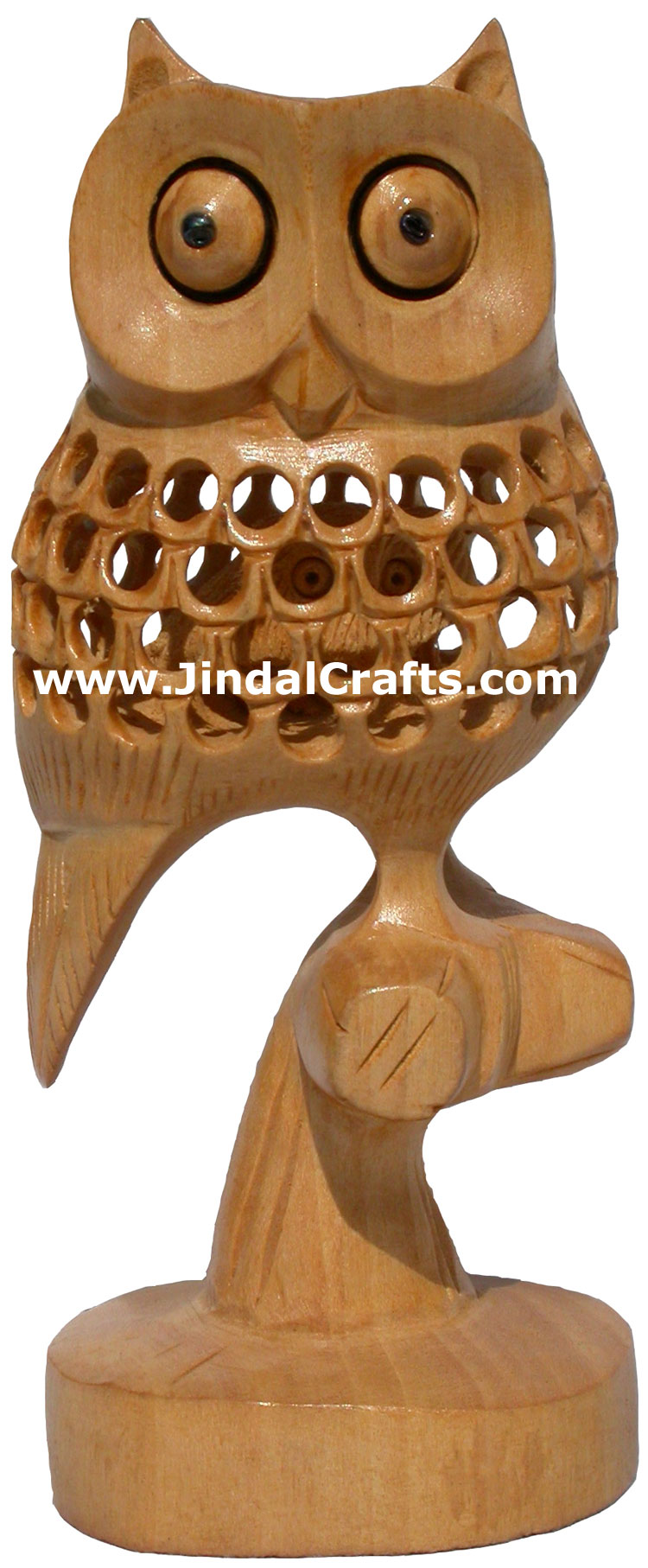 Hand Carved Wooden Lucky Owl India Artifact Decoration Figurine Sculpture Idols